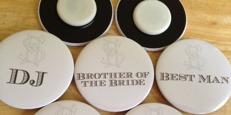 personalised magnetic wedding badges made in the UK by BadgeBoy - The Personalised Badge Experts