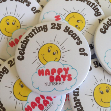 personalised anniversary button badges made in the UK by BadgeBoy - The Personalised Badge Experts