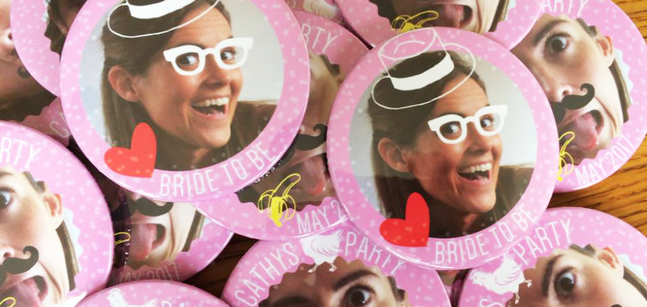personalised hen party badges made in the UK by BadgeBoy - The Personalised Badge Experts