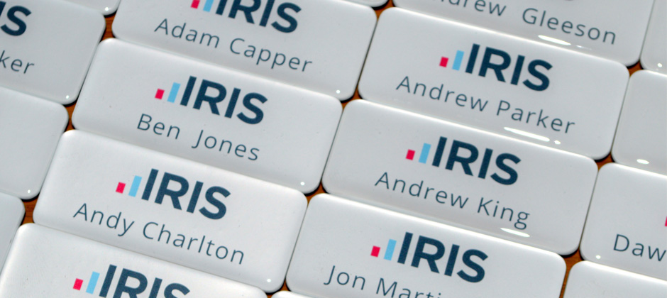 personalised resin name badges made in the UK by BadgeBoy - The Personalised Badge Experts