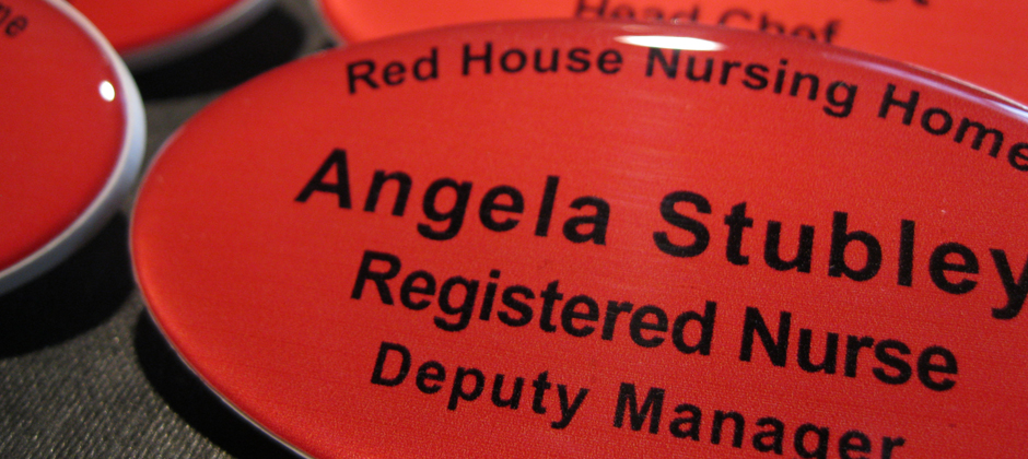 personalised oval resin name badges made in the UK by BadgeBoy - The Personalised Badge Experts