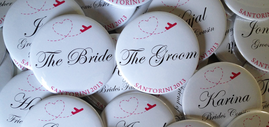 personalised wedding button badges made in the UK by BadgeBoy - The Personalised Badge Experts