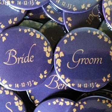personalised wedding badges made in the UK by BadgeBoy - The Personalised Badge Experts