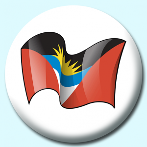 Personalised Badge: 58mm Antigua Barbuda Button Badge. Create your own custom badge - complete the form and we will create your personalised button badge for you.