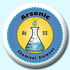 Personalised Badge: 75mm Arsenic Button Badge. Create your own custom badge - complete the form and we will create your personalised button badge for you.