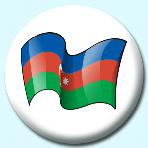 Personalised Badge: 75mm Azerbaijan Button Badge. Create your own custom badge - complete the form and we will create your personalised button badge for you.