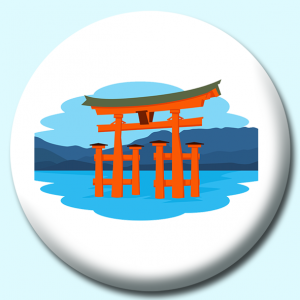 Personalised Badge: 38mm Itsukushima Shrine Button Badge. Create your own custom badge - complete the form and we will create your personalised button badge for you.