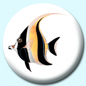 Personalised Badge: 58mm Angel Fish Button Badge. Create your own custom badge - complete the form and we will create your personalised button badge for you.