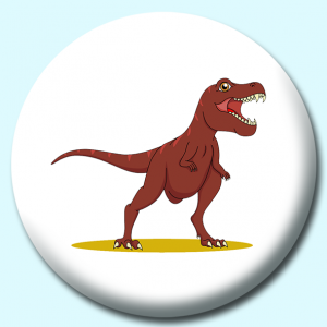 Personalised Badge: 75mm Angry Dinosaur Button Badge. Create your own custom badge - complete the form and we will create your personalised button badge for you.