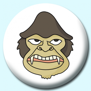 Personalised Badge: 58mm Angry Monkey Button Badge. Create your own custom badge - complete the form and we will create your personalised button badge for you.