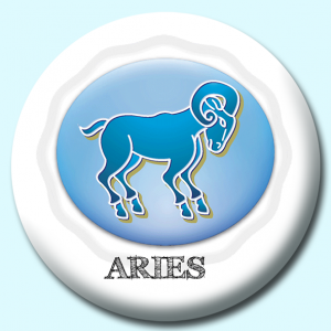Personalised Badge: 75mm Aries Button Badge. Create your own custom badge - complete the form and we will create your personalised button badge for you.