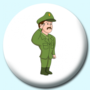 Personalised Badge: 38mm Army Officer Saluating Button Badge. Create your own custom badge - complete the form and we will create your personalised button badge for you.