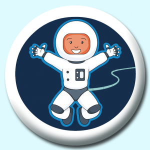 Personalised Badge: 75mm Astronaut Attached To Cord Button Badge. Create your own custom badge - complete the form and we will create your personalised button badge for you.