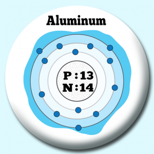 Personalised Badge: 38mm Atomic Structure Of Aluminum Button Badge. Create your own custom badge - complete the form and we will create your personalised button badge for you.