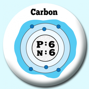 Personalised Badge: 38mm Atomic Structure Of Carbon Button Badge. Create your own custom badge - complete the form and we will create your personalised button badge for you.