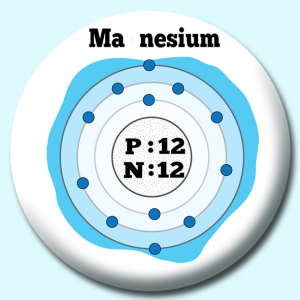 Personalised Badge: 38mm Atomic Structure Of Magnesium Button Badge. Create your own custom badge - complete the form and we will create your personalised button badge for you.