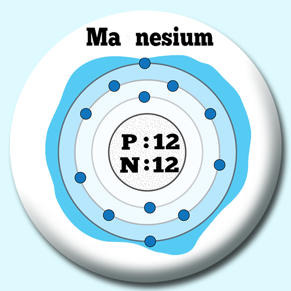 Personalised Badge: 75mm Atomic Structure Of Magnesium Button Badge. Create your own custom badge - complete the form and we will create your personalised button badge for you.
