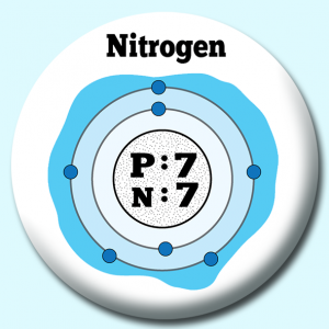Personalised Badge: 38mm Atomic Structure Of Nitogen 2 Button Badge. Create your own custom badge - complete the form and we will create your personalised button badge for you.