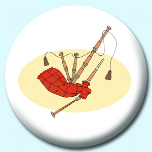 Personalised Badge: 58mm Bagpipe Musical Instrument Button Badge. Create your own custom badge - complete the form and we will create your personalised button badge for you.