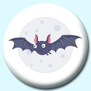 Personalised Badge: 58mm Bat Flying Against Moon Button Badge. Create your own custom badge - complete the form and we will create your personalised button badge for you.