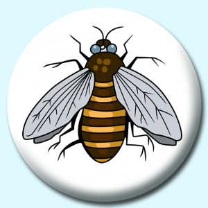Personalised Badge: 58mm Bee Button Badge. Create your own custom badge - complete the form and we will create your personalised button badge for you.