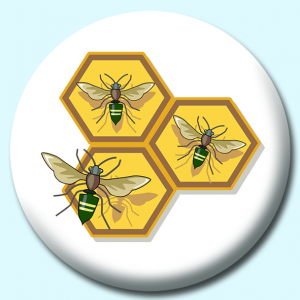 Personalised Badge: 58mm Bees Button Badge. Create your own custom badge - complete the form and we will create your personalised button badge for you.