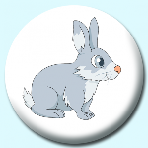 Personalised Badge: 58mm Big Eyed Rabbit Button Badge. Create your own custom badge - complete the form and we will create your personalised button badge for you.