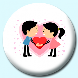 Personalised Badge: 38mm Boy And Girl Couple Holding Heart Button Badge. Create your own custom badge - complete the form and we will create your personalised button badge for you.