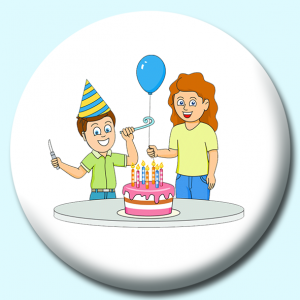 Personalised Badge: 58mm Boy Celebrating His Birthday Wearing Hat With Cake And Balloons Button Badge. Create your own custom badge - complete the form and we will create your personalised button badge for you.