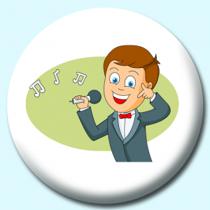 Personalised Badge: 58mm Boy Enjoying Singing Music Button Badge. Create your own custom badge - complete the form and we will create your personalised button badge for you.