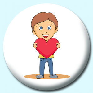 Personalised Badge: 75mm Boy Holding A Heart Button Badge. Create your own custom badge - complete the form and we will create your personalised button badge for you.