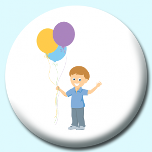 Personalised Badge: 58mm Boy Holding Colorful Balloons Button Badge. Create your own custom badge - complete the form and we will create your personalised button badge for you.