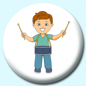 Personalised Badge: 58mm Boy Playing Drum Button Badge. Create your own custom badge - complete the form and we will create your personalised button badge for you.