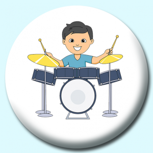 Personalised Badge: 75mm Boy Playing Drumset Button Badge. Create your own custom badge - complete the form and we will create your personalised button badge for you.