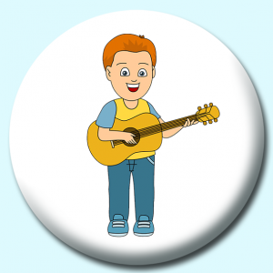 Personalised Badge: 58mm Boy Playing Guitar Button Badge. Create your own custom badge - complete the form and we will create your personalised button badge for you.