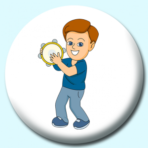 Personalised Badge: 75mm Boy Playing Tambourine Button Badge. Create your own custom badge - complete the form and we will create your personalised button badge for you.