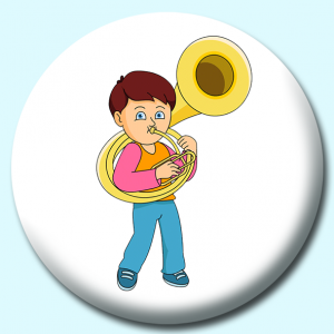 Personalised Badge: 75mm Boy Playing Tuba Button Badge. Create your own custom badge - complete the form and we will create your personalised button badge for you.