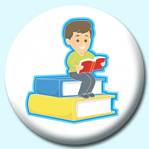 Personalised Badge: 38mm Boy Reading Button Badge. Create your own custom badge - complete the form and we will create your personalised button badge for you.