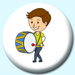 Personalised Badge: 75mm Boy Standing Playing A Large Drum Button Badge. Create your own custom badge - complete the form and we will create your personalised button badge for you.