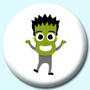 Personalised Badge: 75mm Boy Wearing Scary Green Monster Mask Button Badge. Create your own custom badge - complete the form and we will create your personalised button badge for you.