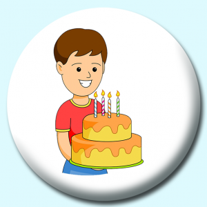 Personalised Badge: 58mm Boy With Birthday Cake Candles Button Badge. Create your own custom badge - complete the form and we will create your personalised button badge for you.