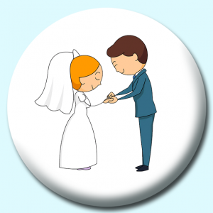 Personalised Badge: 75mm Bride Groom Taking Vows Button Badge. Create your own custom badge - complete the form and we will create your personalised button badge for you.