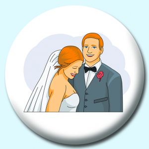 Personalised Badge: 38mm Bride Groom Wedding Button Badge. Create your own custom badge - complete the form and we will create your personalised button badge for you.
