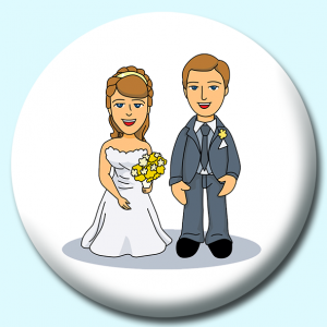 Personalised Badge: 38mm Bride Groon Standing At Wedding Button Badge. Create your own custom badge - complete the form and we will create your personalised button badge for you.