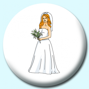 Personalised Badge: 38mm Bride In Gown Button Badge. Create your own custom badge - complete the form and we will create your personalised button badge for you.