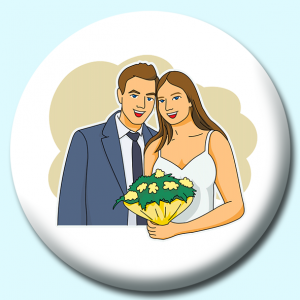 Personalised Badge: 75mm Bridge Groom Smiling Button Badge. Create your own custom badge - complete the form and we will create your personalised button badge for you.