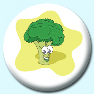 Personalised Badge: 75mm Brocholli Cartoon Button Badge. Create your own custom badge - complete the form and we will create your personalised button badge for you.
