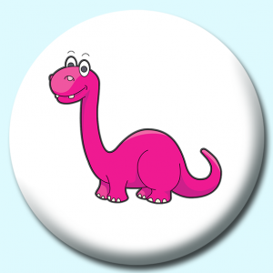Personalised Badge: 75mm Brontosaurus Cartoon Button Badge. Create your own custom badge - complete the form and we will create your personalised button badge for you.