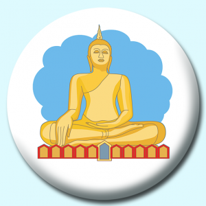 Personalised Badge: 58mm Buddha Statue Button Badge. Create your own custom badge - complete the form and we will create your personalised button badge for you.