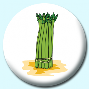 Personalised Badge: 75mm Bunch Of Asparagus Button Badge. Create your own custom badge - complete the form and we will create your personalised button badge for you.